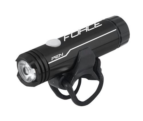 svetlo predné FORCE PEN 200l 1LED dióda USB, čierne