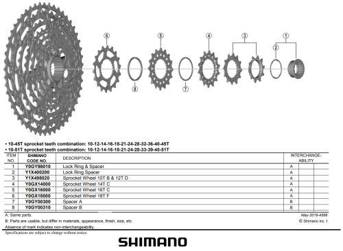 Pastorok Shimano pre kazeru CS-M7100 / M8100 - Rôzne varianty