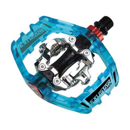 EXUSTAR PM825 Pedále MTB black Priehľadná modrá / Transparent Blue 2017
