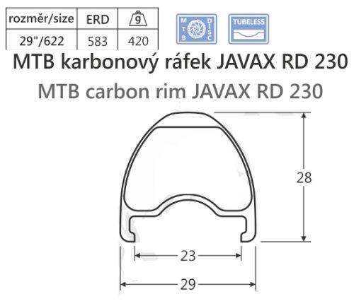 Karbónový ráfik javax RD230, 622-23, 28d