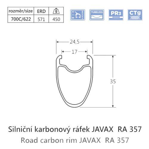 Karbónový cestná ráfik javax RA357