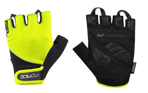 rukavice FORCE GEL, fluo-čierne XS
