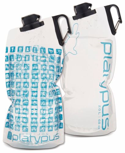 CASCADE DESIGNS Ltd. DUOLOCK SOFTBOTTLE 2 # 0L Platy Logo fľašu s klipom a logom číra