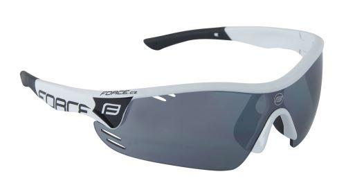 Okuliare FORCE RACE PRO - biele - čierna laser skla