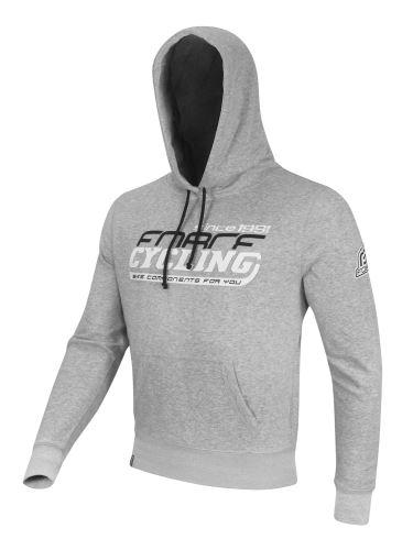 mikina F CYCLING cez hlavu s kapucňou šedá-JUNIOR S