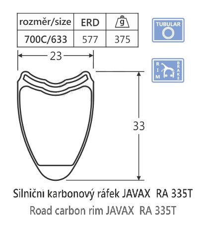 Karbónový cestná galuskový ráfik javax RA335T, 20d