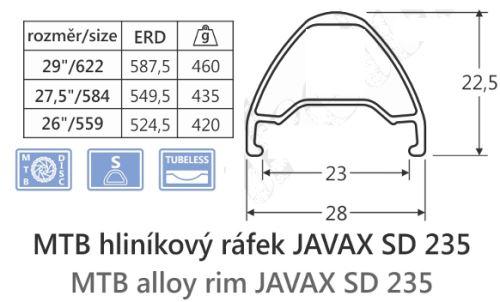 Hliníkový ráfik javax SD235,29