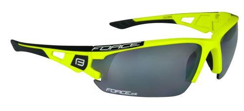okuliare FORCE CALIBRE fluo žlté, čierna laser sklá