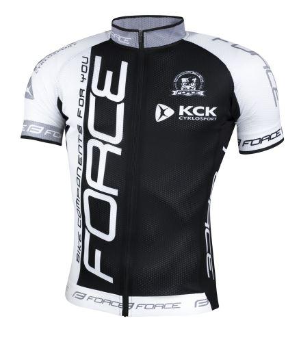 dres FORCE TEAM18 krátky rukáv čierno-biely M