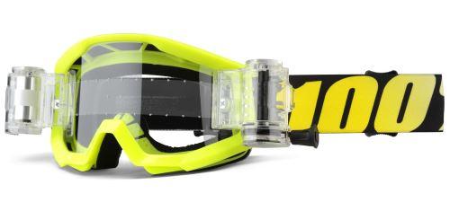 Detské zjazdové okuliare 100% Strata JR Mud Neon Yellow - Číre sklá