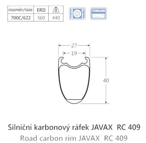 Karbónový ráfik javax RC409, plášť, Disk, 24d