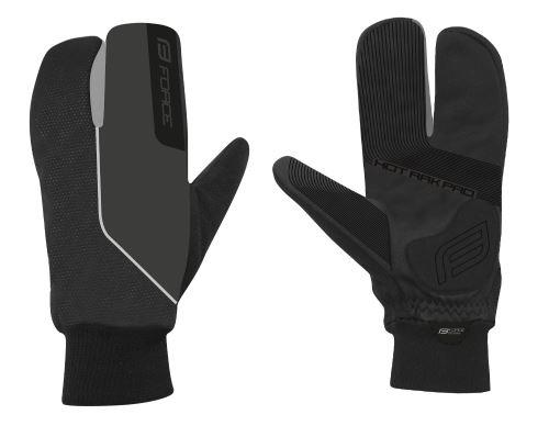 rukavice zimné FORCE HOT RAK PRO 3-prsty, čierne